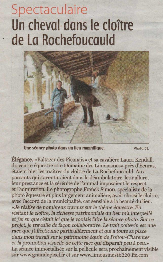 Charente Libre - Cloitre du couvent des Carmes - Projet Force Tranquille -Franck SIMON, photographe équestre