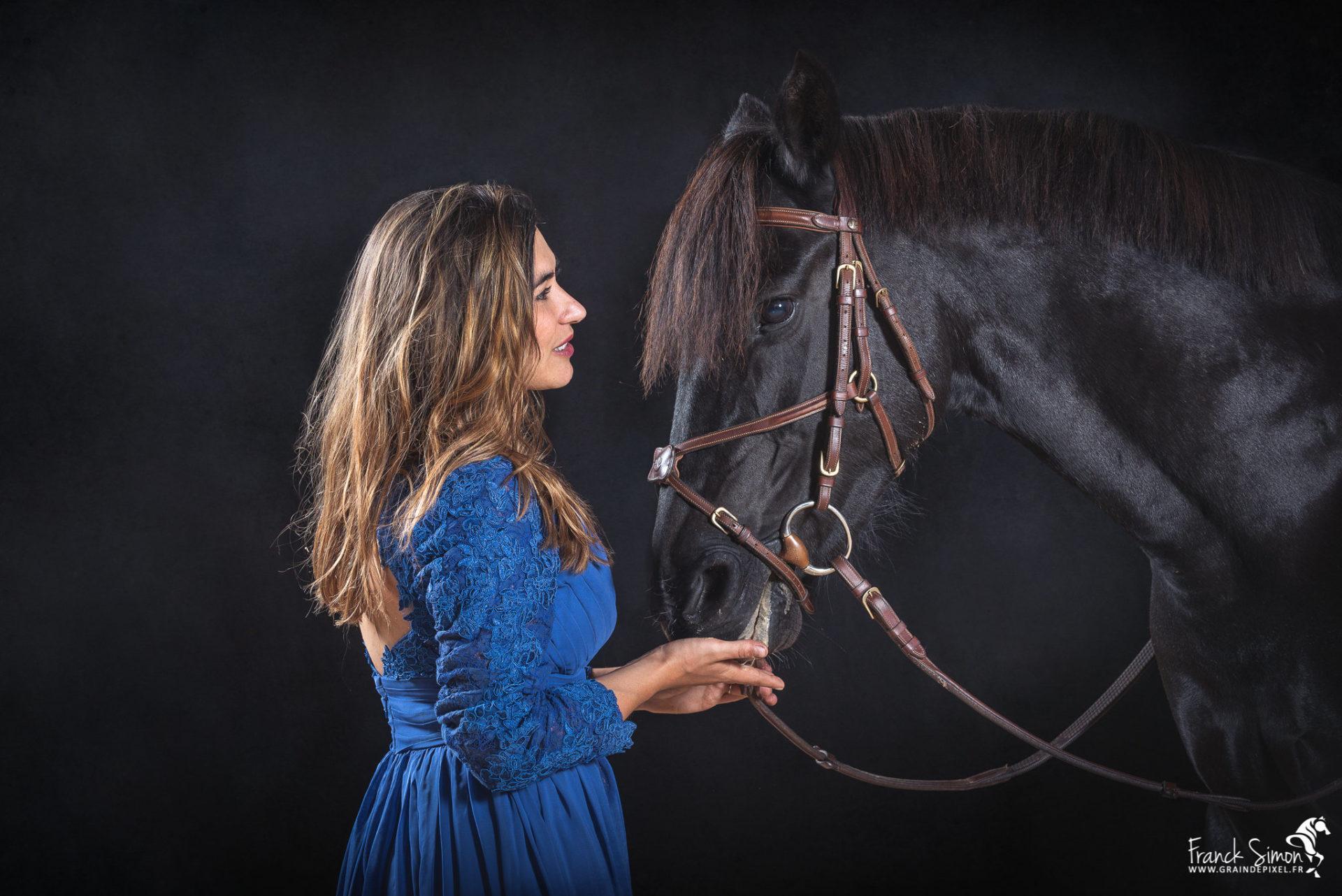 Valentine et ses chevaux, séance studio équin